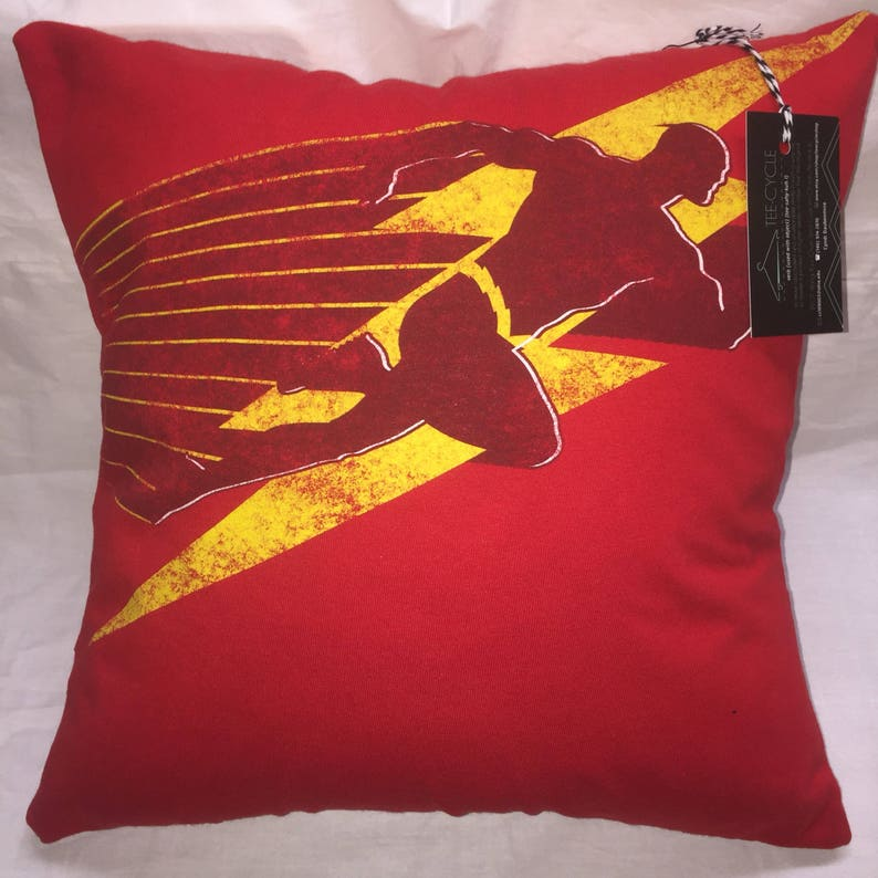 Superhero Fast Man T-Shirt Pillow 16x16 Upcycled One of a Kind image 0