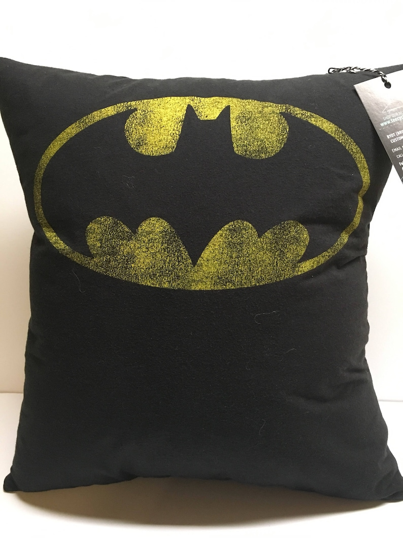 Bat logo Comic Book T-Shirt Pillow 15x16 Upcycled One of a image 0