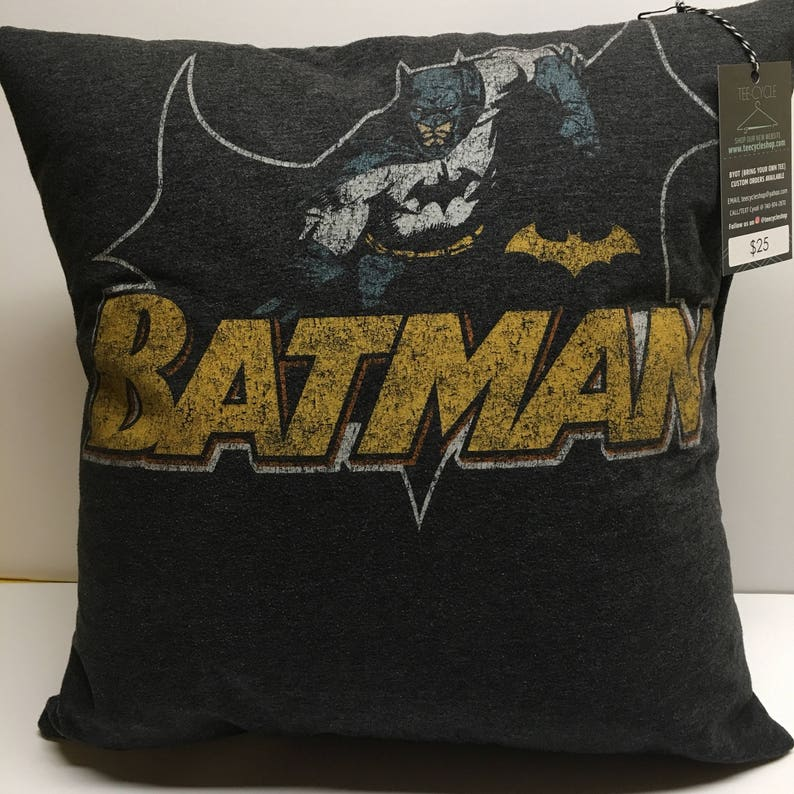 Bat logo Comic Book T-Shirt Pillow 16x16 Upcycled One of a image 0
