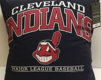 Cleveland, Ohio Baseball T-Shirt Pillow 16x16 Upcycled One of a Kind