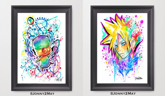 Original 2 Double Moogle And Cloud Strife Final Fantasy Painting High Quality Gloss Photo Print By Jonny2may A4