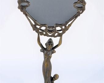 Made in Italy Art Deco Ornate Figural Female Goddess & Cherub Vanity Brass Mirror