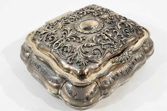 Silver Plated Jewelry Box/ vintage silver jewelry