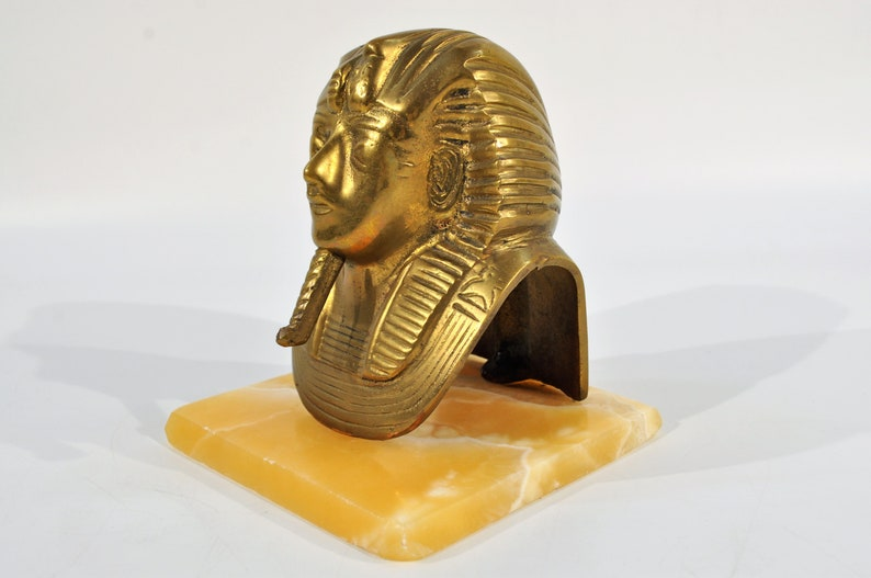 Cast Brass Sphinx Statue on Marble Made in Egypt