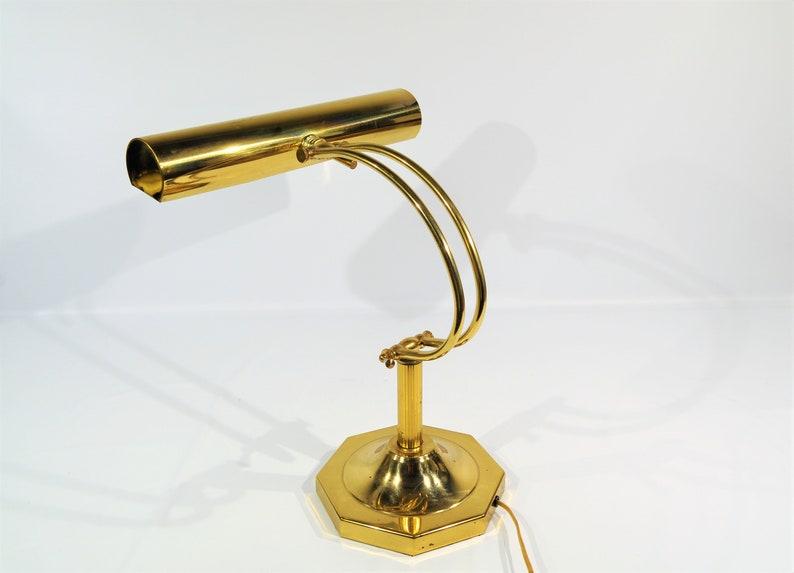 Large Polished Brass Piano Desk Lamp Vintage Brass Adjustable Desk Piano Brass Gold Adjustable Lamp Shabby Chic Table Lamp Mad Man Desk Lamp