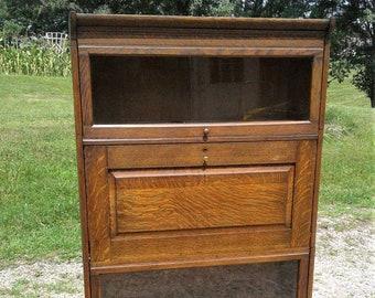 Antique 4 Stack Barrister Bookcase with Desk Section Quarter Sawn Oak 1950s Era