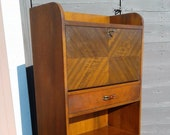Mid Century Modern Secretary Desk and Bookcase Waterfall