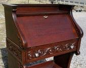 Antique Mahogany Victorian Ladies Drop Front Desk Claw Foot Art Nouveau 1900 Era