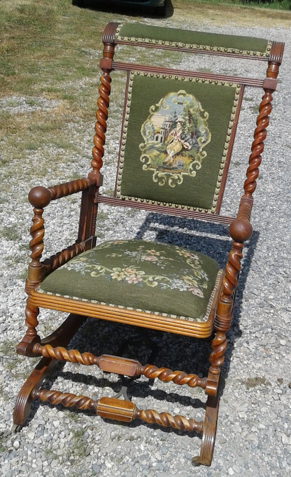 Amazing Mahogany Platform Rocking Chair Hunzinger Style Green Needlepoint Seat And Back 1870S Era Gmtry Best Dining Table And Chair Ideas Images Gmtryco