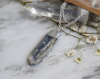 Raw Blue Silver Dipped Kyanite Combo Necklace, Kyanite Pendant, Raw Kyanite Necklace, Kyanite and Silver Chain, Kyanite Blade