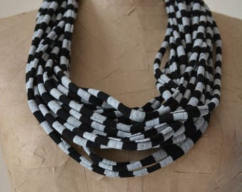 gray black fabric necklace wrap around necklace scarf infinity scarf cloth necklace jersey necklace t-shirt necklace