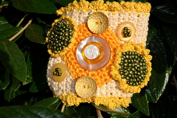 Sonnenblume Breites Armband Häkeln Manschette Armband Blume Etsy