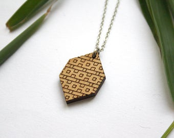 made in France trendy jewel modern minimal chic style art deco inspiration silver color Wooden geometric chevron necklace natural wood