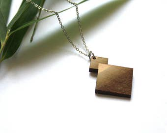 Geometric necklace, wooden jewel, wood pendant, opt art inspiration, modern minimal, metal chain silver color, french jewelry made in France