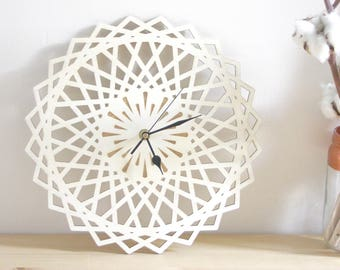 Modern Wall Clock, star shape, geometric design, natural interior decoration, wooden object, home decor, engagement Gift, Scandi Hygge Style