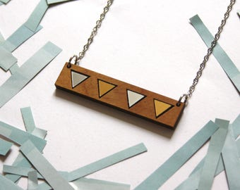Geometric necklace, triangle, natural wood, minimal modern jewel, gold silver color, woman jewelery, art deco inspiration, made in France