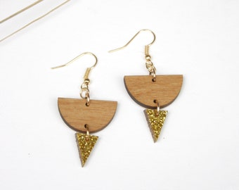 Geometric earrings with triangle gold color, minimal jewelry, wooden jewel made in France Paris