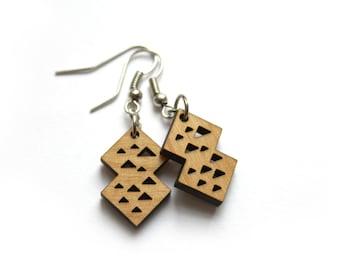 Geometric wooden earrings, triangle pattern, modern minimal, natural wood