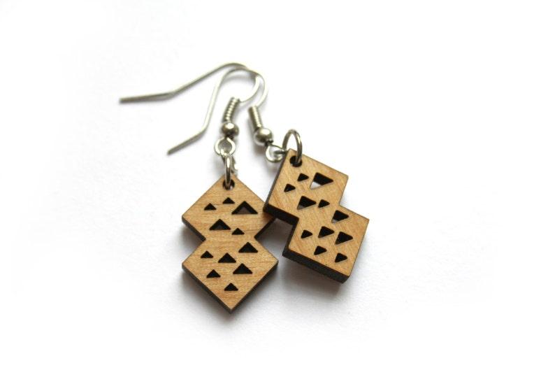 Geometric wooden earrings triangle pattern modern minimal image 0