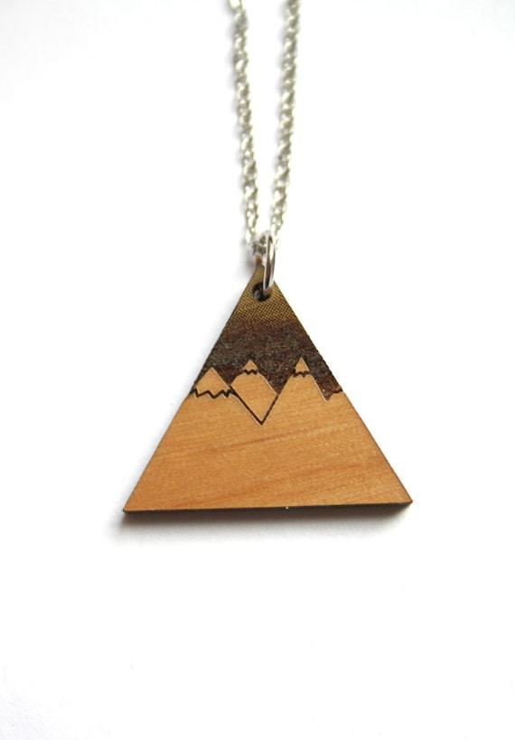 Collana geometrico di legno arte ottica minimalista unisex gioielli uomo e donna