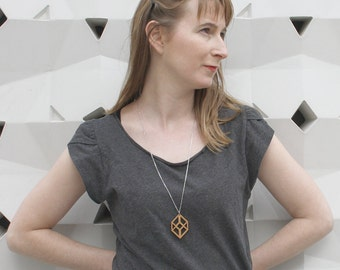 Wooden necklace, geometric wood pendant, cube shape opt art inspiration, modern minimalist jewelry, french classy jewel made in France Paris