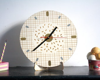 Wooden geometric clock, Memphis design style, poplar wood, original home decor, gold silver inlays, round shape 11 inch