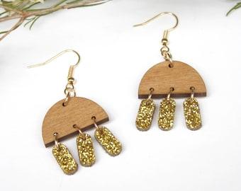 Geometric earrings, minimal pop abstract jewelry, wooden jewel, inspiration Memphis design Milano style