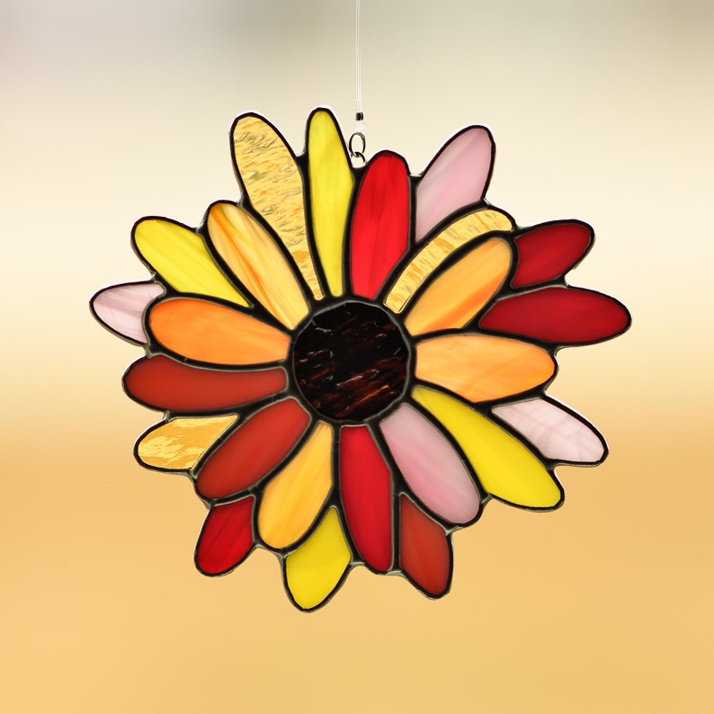 Suncatcher Reds//Purples Stained Glass Flower Daisy Handmade NEW