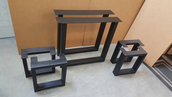 Set Of 2 Square Table Legs And 4 Square Bench Legs Model Tbtsq13 Industrial Metal Tubing Legs