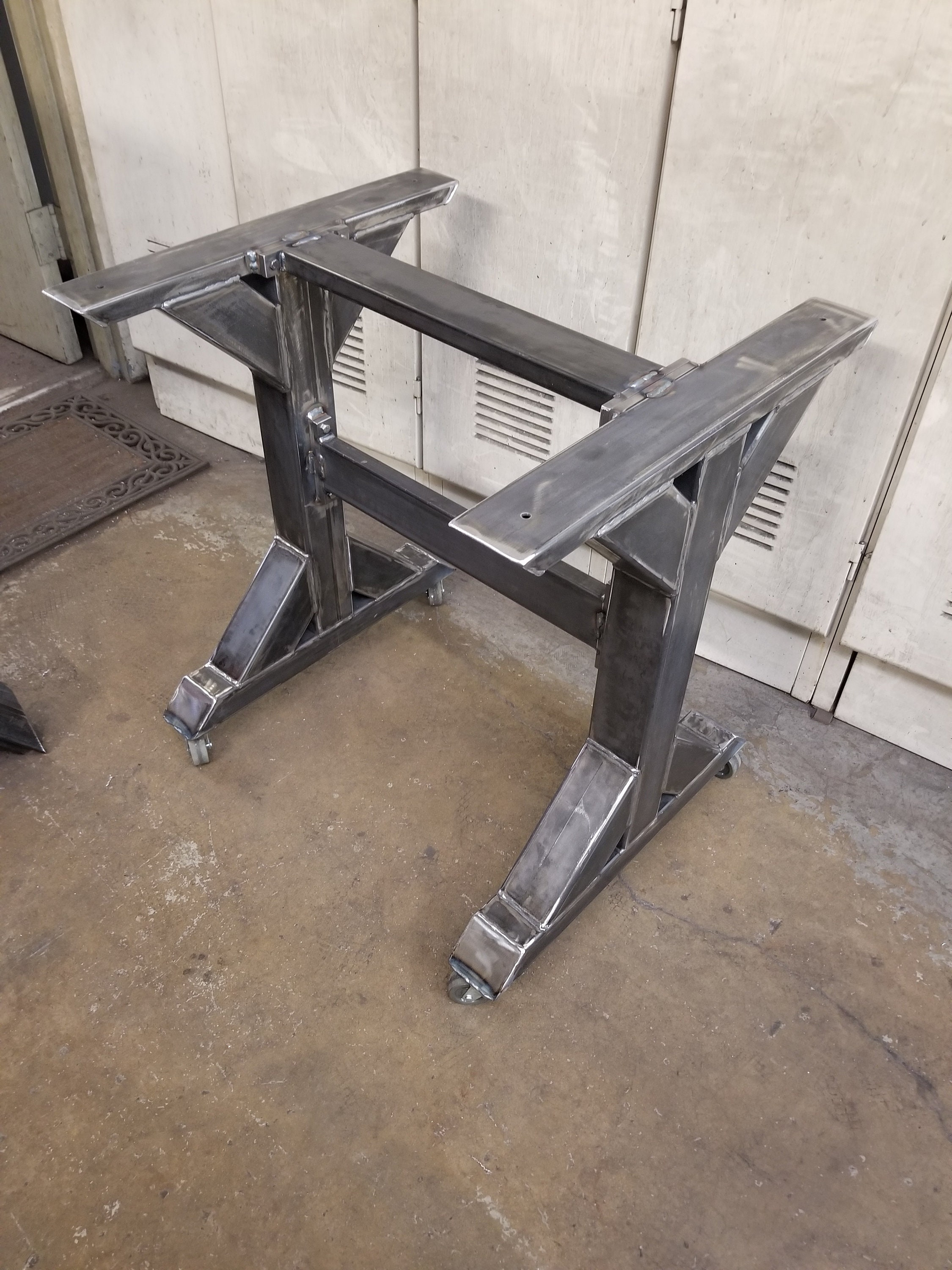 Table Base With Casters Trestle Table Legs With 2 Braces And