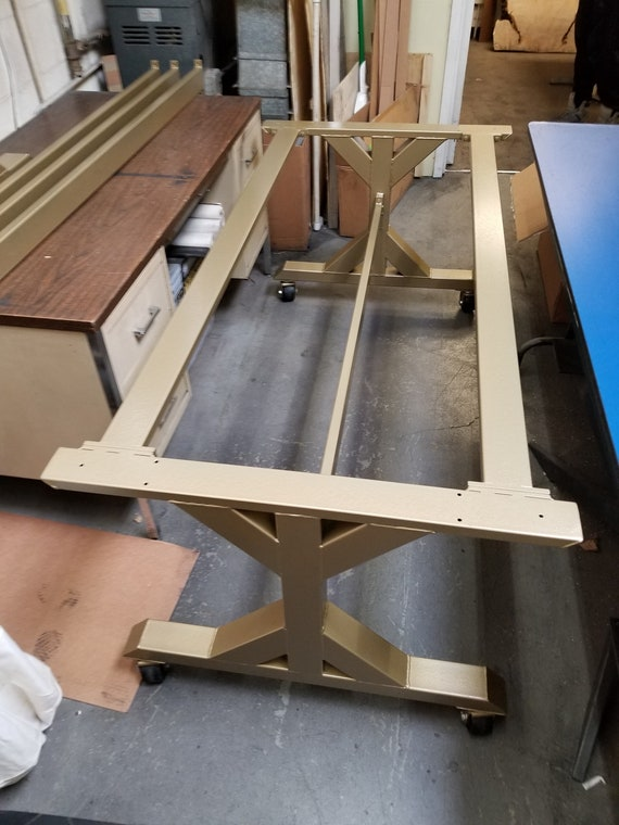 Table Base With Casters Trestle Table Legs With 3 Braces And Casters Model Tr10b3c