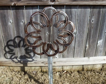 Rustic Double Horseshoe Flower Garden Decor Great housewarming gift, Valentine, Farmhouse, Ranch, Horselover Repurposed item