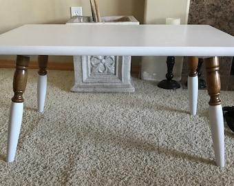 Vintage Small White Coffee/Tea Table/Coffee Table/White Coffee Table/Table/vintage  Table/White/Country Coffee Table/Rustice Coffee Table