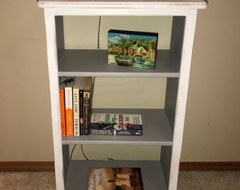 Vintage Handmade Bookcase Chalk Painted Paint Bookshelf White Accent Table Entry