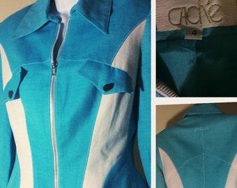 Vintage Caché 90's 80's dual tone blazer sz 4 Small s