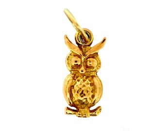 Vintage Gold Charm - 9ct Gold Owl Charm