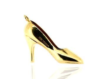 Vintage Gold Charm - 9ct Gold Ladies High-Heel Shoe Charm