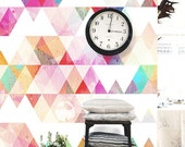 BIG SALE: Multi-colored Geometric Removable Wallpaper Peel & Stick Wall Mural Triangle Colorful Ink Splash Paper Tile Fresh Watercolor