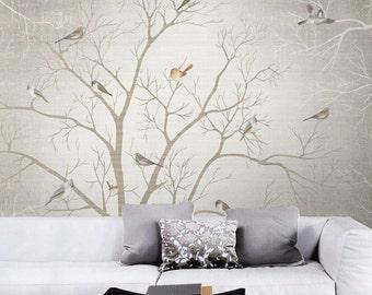 Branch Birds Wallpaper Wall Decal Art Dreamy Winter Woods Tree Wall Mural Custom Sizing