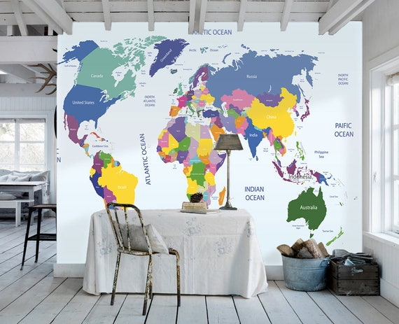 World map removable wallpaper peel and stick map wall sticker gumiabroncs Choice Image