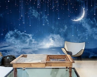 Moon Sky Removable Wallpaper Mysterious Moonlit Self-Adhesive Wall Mural Starry Night Dark Blue Sky Painting Effect Navy Nature Peel & Stick