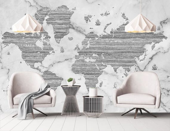 Marble world map removable wallpaper peel stick black white gumiabroncs Images