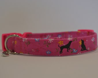 Hot Pink Flowers hand made dog collar, available in four sizes