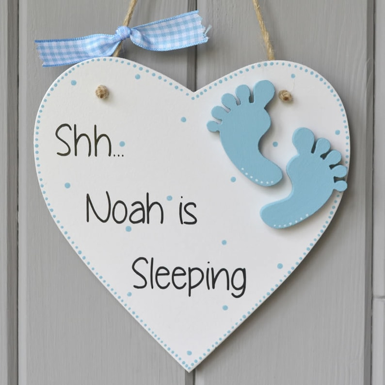 Shh Baby Sleeping Plaque. Personalised baby boy gift and image 0