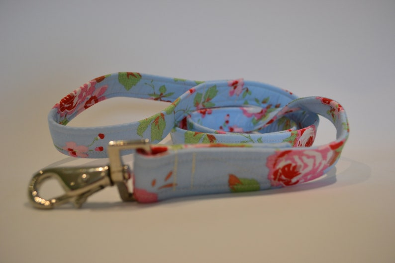 Blue Rose hand made dog Lead available in two widths image 0