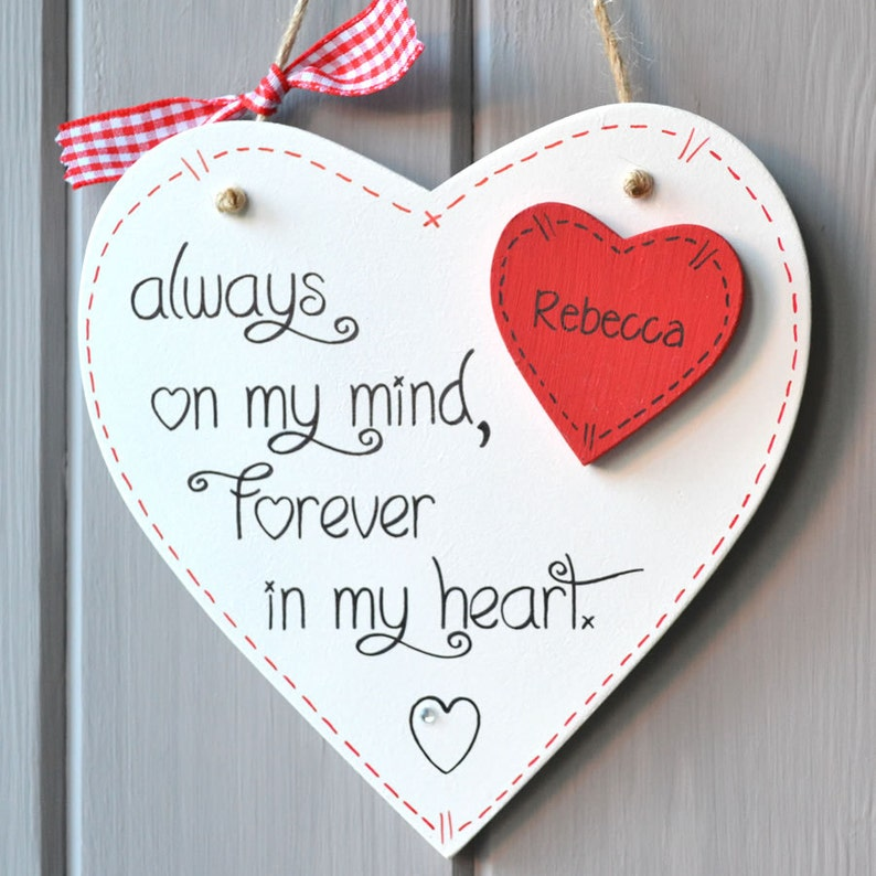 Valentine Message Heart plaque personalised with any name. image 0