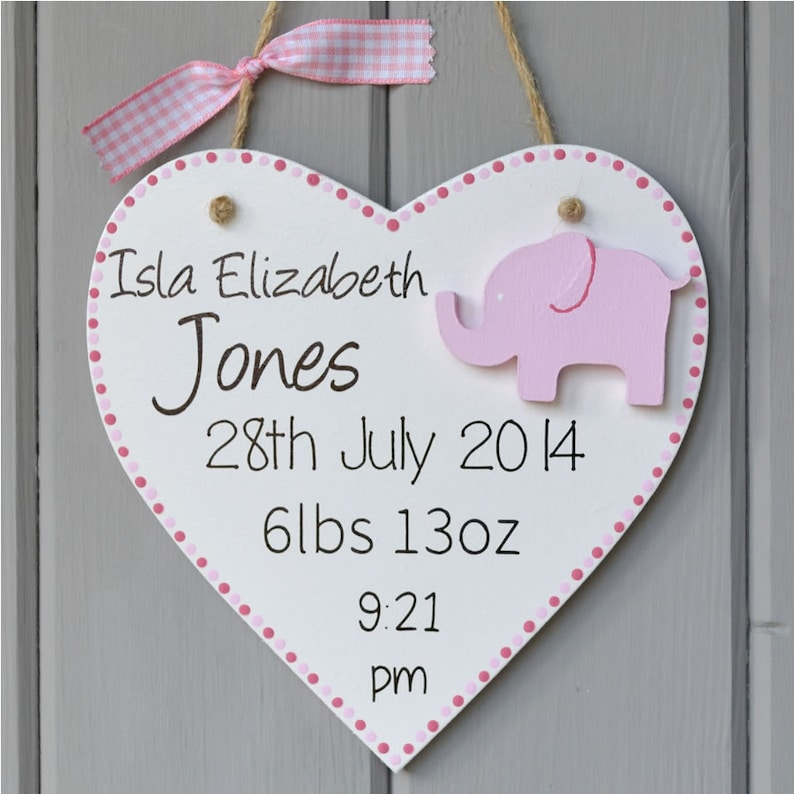 Personalised new baby plaque. Personalised baby girl gift and image 0