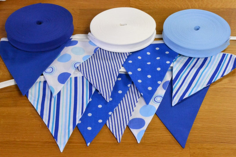 Mixed Blue double sided fabric bunting 10 15 or 20 flags. image 0