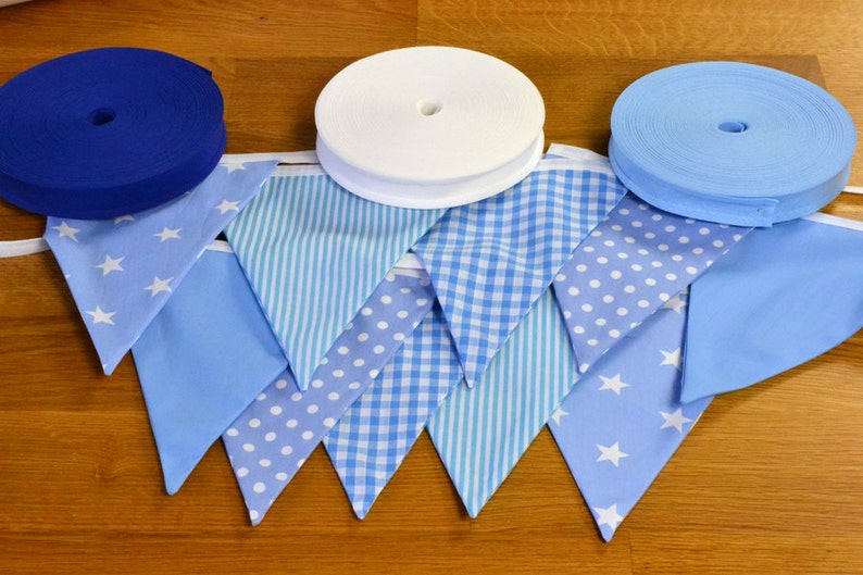 Pale blue double sided fabric bunting 10 15 or 20 flags. image 0