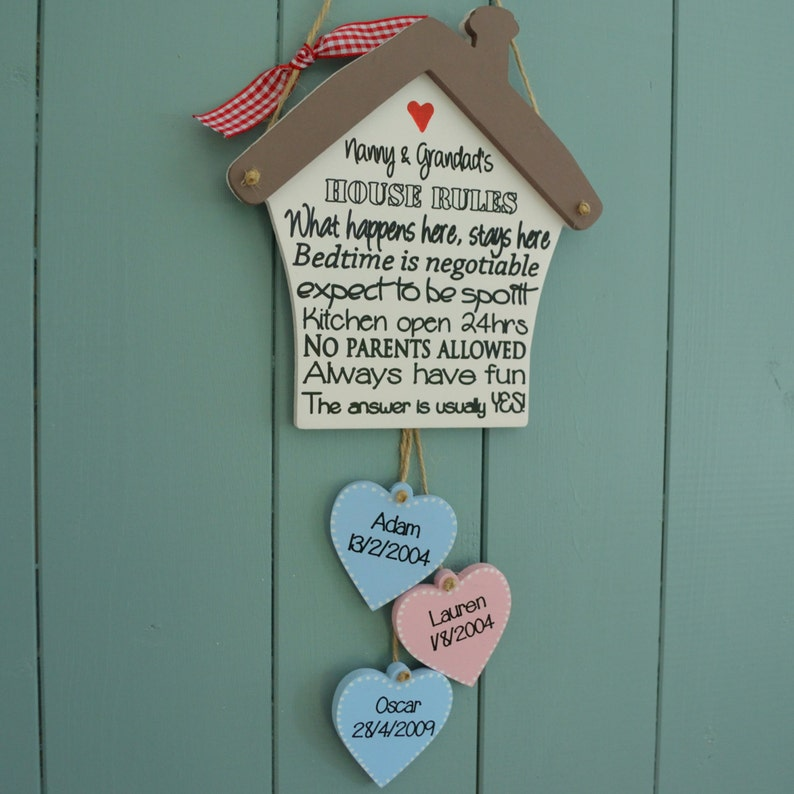 Grandparents house rules plaque great birthday reminder image 0